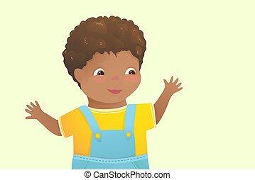cartoon., felice, americano, capretto, ragazzo, africano, bambino primi passi