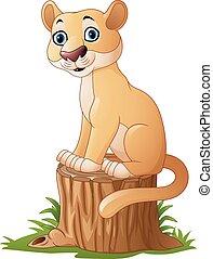 Cartoon feline sitting on tree stum - Vector illustration of...