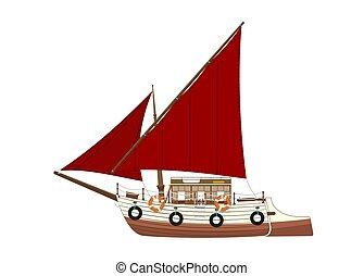Cartoon feluca. Side view of a retro Egyptian sailing boat....