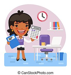 Cartoon Female Accountant in the Office