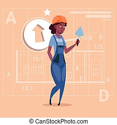 Cartoon Female Builder African American Wearing Uniform And Helmet Construction Worker Over Abstract Plan Background