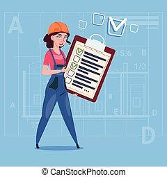 Cartoon Female Builder Carpenter Hold Checklist Construction Worker Over Abstract Plan Background