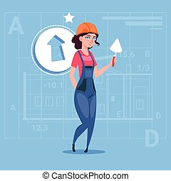 Cartoon Female Builder Wearing Uniform And Helmet Construction Hold Spatula Worker Over Abstract Plan Background
