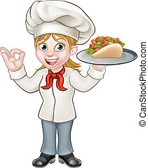 Cartoon Female Chef with Kebab - A cartoon female chef...