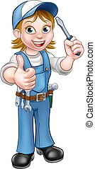 Cartoon Female Electrician Holding Screwdriver - An...