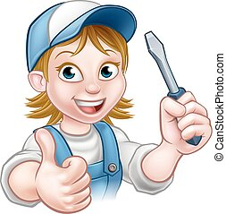 Cartoon Female Electrician Holding Screwdriver