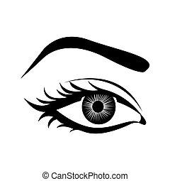 cartoon female eye icon image