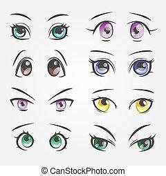 Cartoon female eyes. Closeup eyes of beautiful women.