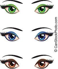 Cartoon female eyes - Set of cartoon female eyes of...