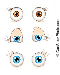 Cartoon Female Eyes - Cartoon Comic Eyes Vector Expressions