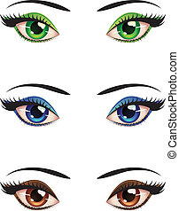 Cartoon female eyes - Set of cartoon female eyes of...