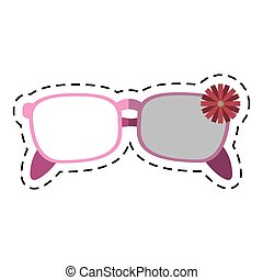 cartoon female glasses flower decorative