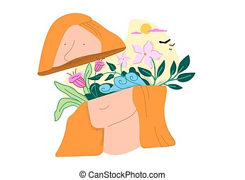Cartoon female head with beautiful flower bouquet and ...