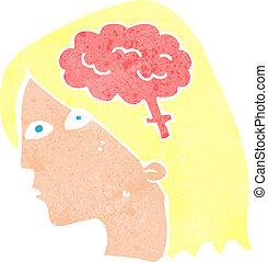 cartoon female head with brain symbol