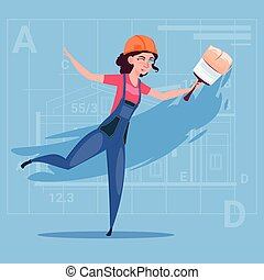 Cartoon Female Painter Hold Paint Brush Decorator Builder Wearing Uniform And Helmet