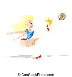 cartoon female soccer player kicking ball