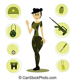 Cartoon female soldier.