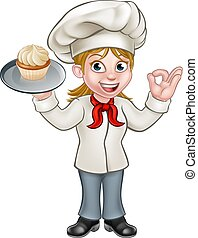 Cartoon Female Woman Baker or Pastry Chef