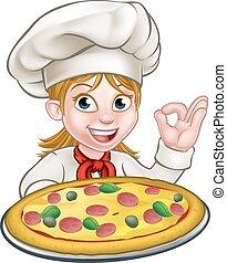Cartoon Female Woman Pizza Chef
