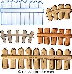 Cartoon fences collection - vector illustration.