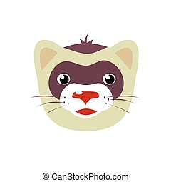 Cartoon ferret animal face vector illustration isolated on...