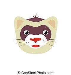 Cartoon ferret animal face vector illustration isolated on...