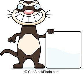 Cartoon Ferret Sign