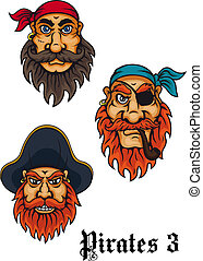 Cartoon fierce pirates set - Cartoon fierce pirates and...