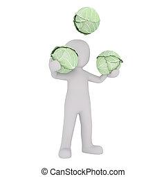 Cartoon Figure Juggling Heads of Green Cabbage