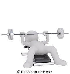 Cartoon Figure Lifting Barbell Weight on Bench