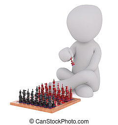 Cartoon Figure Making Move in Chess Game