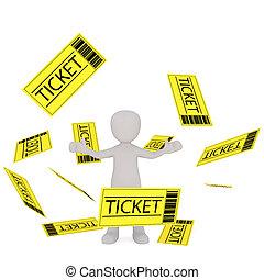 Cartoon Figure Standing Amongst Falling Tickets
