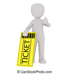 Cartoon Figure with Large Yellow Admission Ticket