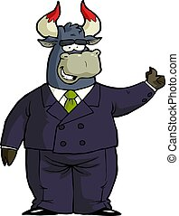 Cartoon financial bull thumb up