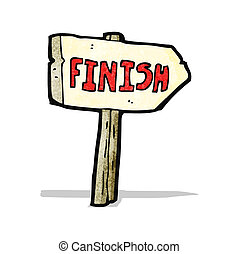 cartoon finish sign