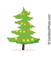 Cartoon Fir Tree in Xmas Holiday Concept. Vector