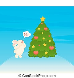 cartoon fir-tree with bunny