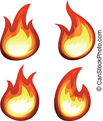 Cartoon Fire And Flames Set