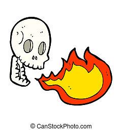 cartoon fire breathing skull