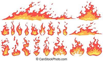 Cartoon fire flames. Fireball flame, red hot fire and ...