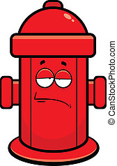 Cartoon illustration of a fire hydrant with a tired expression.
