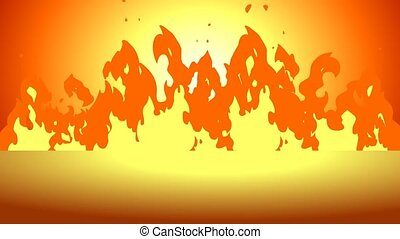 Cartoon Fire Of Raging Flames. 4K Animation Video Motion Graphics With Background
