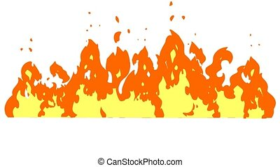 Cartoon Fire Of Raging Flames. 4K Animation Video Motion Graphics Without Background