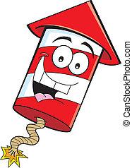 Cartoon illustration of a smiling firecracker.
