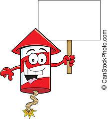 Cartoon illustration of a firecracker holding a sign.