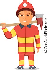 Cartoon Firefighter Character isolated on white Background. Vector