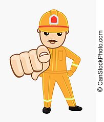 Cartoon Firefighter Pointing Finger Vector Illustration