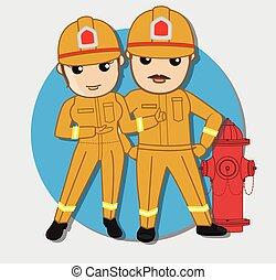 Cartoon Firefighter Workers