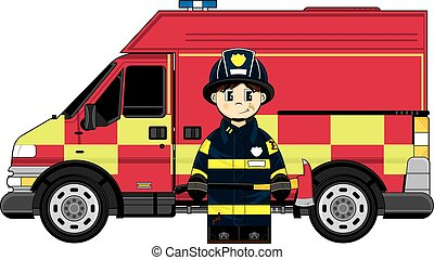 Cartoon Fireman and Truck