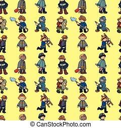 cartoon Fireman seamless pattern